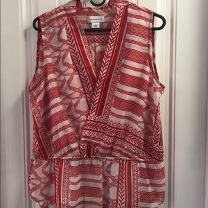 Liz Claiborne red and white blouse.